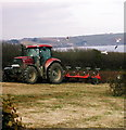 SW8735 : Ploughing, adjacent to Parc-an-Dillon Road, Portscatho by ROWLAND TURNER