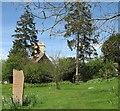 TL3456 : Caldecote: footpath, garden and church by John Sutton