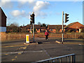 SP2965 : Pedestrian crossing, Emscote Road canal bridge by Robin Stott