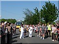 ST3086 : Olympic Torch relay changeover, Cardiff Road, Newport (3) by Robin Drayton