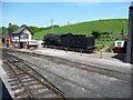 SJ9851 : Signal box and steam locomotive, Cheddleton by Christine Johnstone