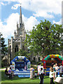 SP9912 : Bouncy Castles at Ashridge House on Fete Day by Chris Reynolds