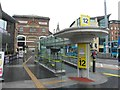 SJ3490 : Bus stand, Liverpool by Kenneth  Allen
