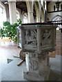 TG0343 : Medieval octagonal font in St. Nicholas' church, Blakeney by pam fray