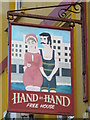 TQ3203 : Sign for The Hand in Hand, Upper St. James's Street / Marine Gardens, BN2 by Mike Quinn