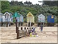 TF9145 : Beach huts and groyne at Wells-next-the-Sea by Oliver Dixon