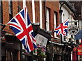 SU9643 : Union Jacks in Godalming by Colin Smith