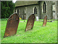 TL8234 : Cast iron grave markers at St John the Baptist's church, Little Maplestead by Evelyn Simak