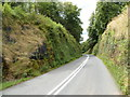 SO3608 : Road to the Clytha Arms ascends through a cutting by John Grayson