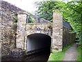 SD9905 : The Huddersfield canal burrows under Uppermill High Street by Raymond Knapman
