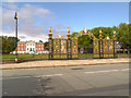 SJ6088 : Warrington Town Hall, Bank Park and Gates by David Dixon