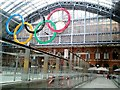 TQ3083 : Olympic rings, St. Pancras Railway Station by D. MacNeill