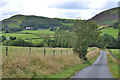 SN9677 : Minor road heading up the Dulas valley by Nigel Brown