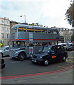 TQ2879 : Silver Routemaster Bus in Knightsbridge by PAUL FARMER