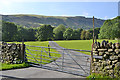 SH9207 : Gate and track to Blaen y Cwm farm by Nigel Brown