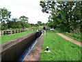 SO9163 : Narrowboat descending lock 3, Droitwich Junction Canal by Christine Johnstone