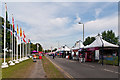 TQ4277 : Catering stalls, London 2012 shooting venue  by Ian Capper