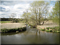 SP2185 : River Blythe heads north from the ford by Robin Stott