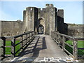 ST1587 : Approaching the gatehouse of Caerphilly Castle by Jeremy Bolwell
