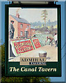 SJ8354 : The Canal Tavern (pub sign) at Hardings Wood, Staffordshire by Roger  Kidd