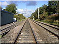 SJ8458 : Straight rail track from the Level crossing. Mow Cop by John Harrison