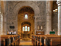 NY9864 : Nave, Font and West Window, St Andrew's Church by David Dixon