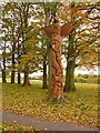 NY4056 : Totem pole, Rickerby Park by Oliver Dixon