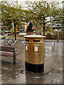 SJ8498 : Gold Postbox, Piccadilly by David Dixon
