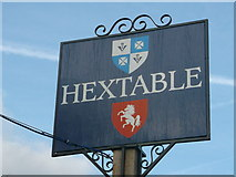 TQ5170 : Hextable Village Sign (close-up) by David Anstiss