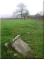 SD6391 : Broken former county boundary stone near Sedbergh by Karl and Ali