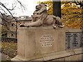 SJ9698 : Stone Lion, Stalybridge War Memorial by David Dixon
