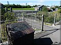 SO1410 : Footbridge and plaque., Dukestown, Tredegar by Robin Drayton