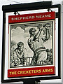 TL7704 : The Cricketers Arms inn sign by Robin Webster