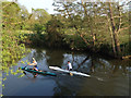 SP2965 : Two solo canoeists on the River Avon by Robin Stott