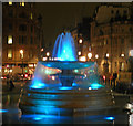 TQ3080 : Fountains in Trafalgar Square at night by Steve  Fareham
