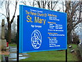 SD9209 : The Parish Church of St Mary, High Crompton, Nameboard by Alexander P Kapp