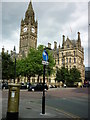 SJ8398 : Manchester's golden pillar box by Carroll Pierce