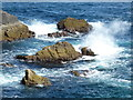NB5266 : Butt of Lewis: waves and small rocks by Chris Downer