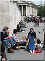 TQ2980 : Picnics in Trafalgar Square, W1 by Robin Stott