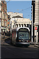 SK5739 : Tram entering the Old Market Square  by Alan Murray-Rust