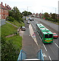 ST5376 : A green bendybus in  Shirehampton, Bristol by John Grayson