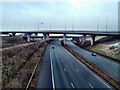 SE4624 : Looking east on the M62 at Holmfield interchange by derek dye