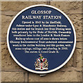 Photo of Glossop railway station and Henry Howard blue plaque
