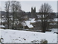 SE6183 : All Saints Church Helmsley in snow from the castle by David Hawgood