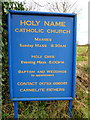 TQ0486 : Holy Name Catholic Church, Denham, Nameboard by Alexander P Kapp