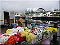 NZ2563 : Newcastle Townscape : Floral Display Beside The Tyne by Richard West