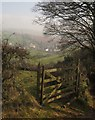 SX8868 : Gate and view, Kerswell Hill by Derek Harper