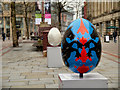 SJ8398 : St Ann's Square, Giant Easter Eggs by David Dixon