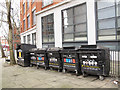 TQ3182 : Recycling bins on Rosebery Avenue by Stephen Craven