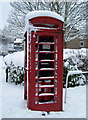 SK3093 : Phone Box in the Snow, Church Street, Oughtibridge by Terry Robinson